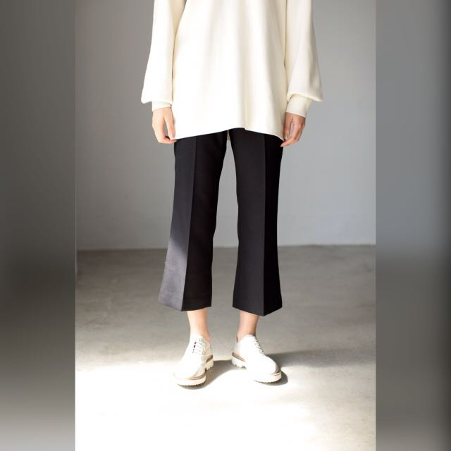 Moussy 西裝喇叭寬褲 墨黑色 深藍