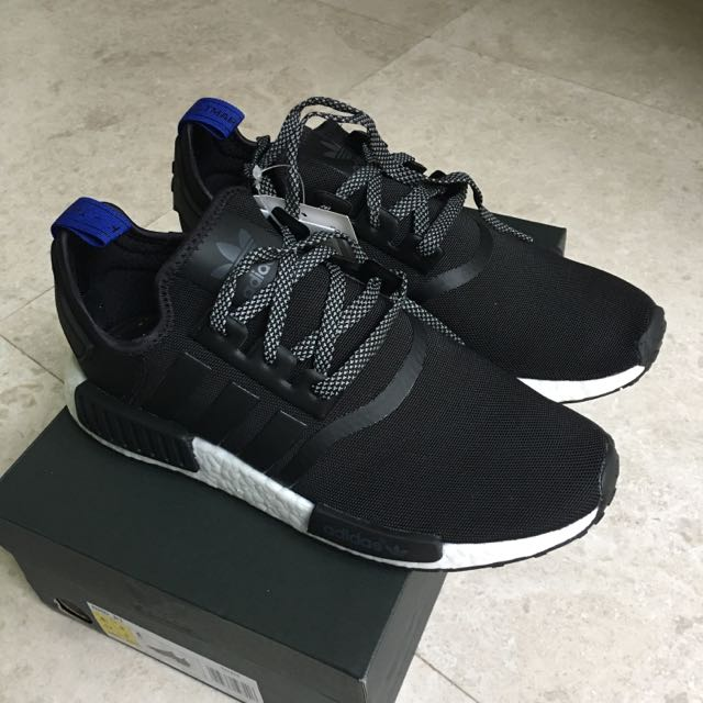 sports shoes 7fcb7 893ef Adidas NMD R1 Core Black Blue Heel Tab Size US8.5 UK8, Men s Fashion, Footwear  on Carousell