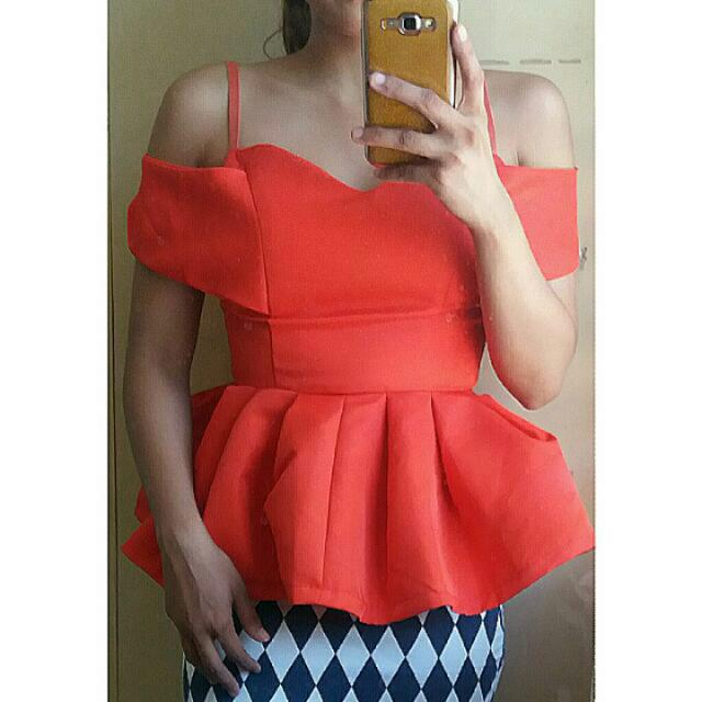 Orange Peplum Top