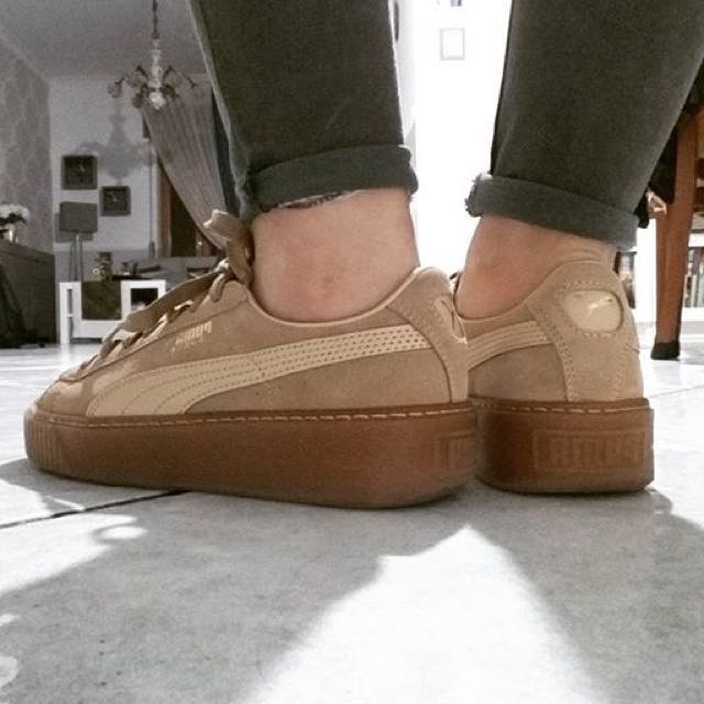 online store 6af5f b9702 Puma Suede Creepers Gum Sole In Oatmeal Tan Brown, Women's ...