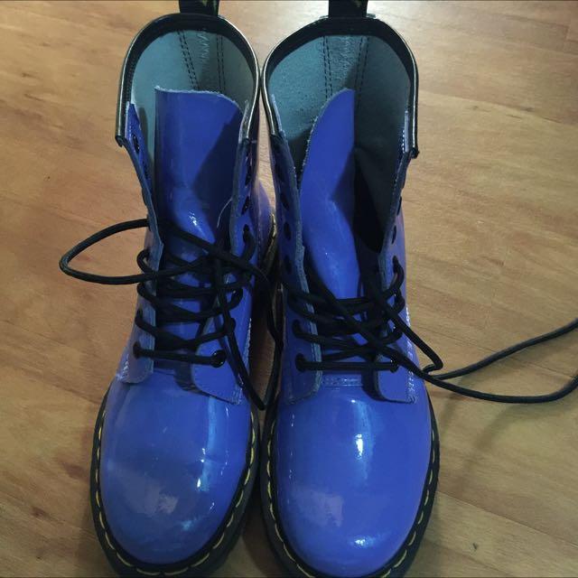 Purple/blue patent Dr Martens UK5