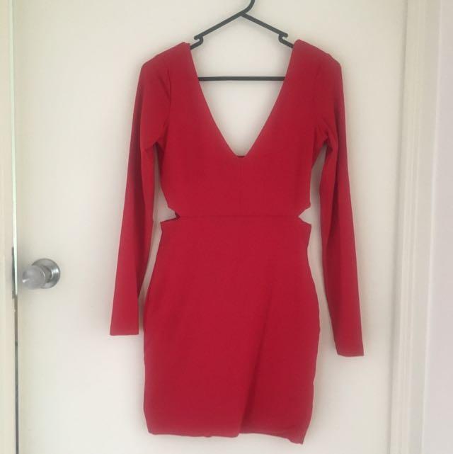 Red Kookai Bodycon Dress Size 1