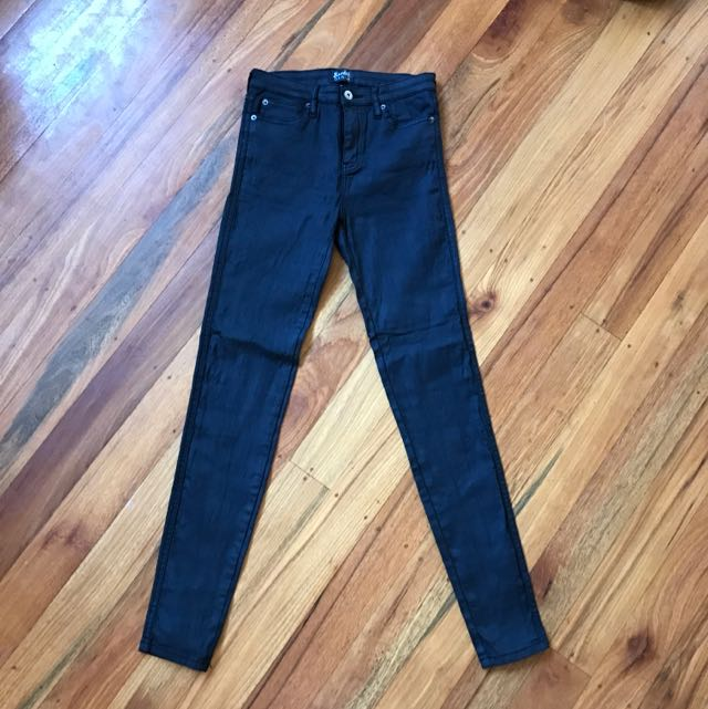 Size 10 Bardot Wet Look Jeans High Waist