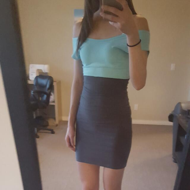 Turquoise & Grey American Apparel Dress