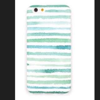 清新淡雅綠色條紋簡約Iphone 6s/6 保護套軟殼 亦與瞬