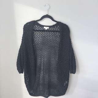 Black Oversized Knit Cardigan