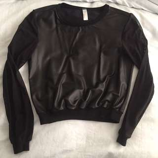 American Apparel Black Sweatshirt With Sheer Sleeves XS