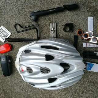 Bike Helmet, Puncture Kit And Few Other Accessories