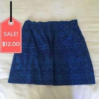 Blue Patterned Skirt