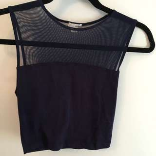 Mesh Navy Crop Top