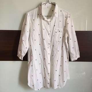 🚚 海軍水手錨⚓️刺繡七分袖長版襯衫