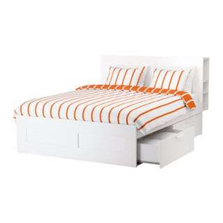 Queen sized Ikea BRIMNES Bed Frame + Free Mattress