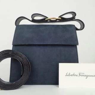 Vintage Ferragamo Vara Navy Suede Bag