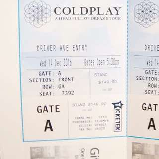 2 Tickets Coldplay 14th Dec. GOLD STAND