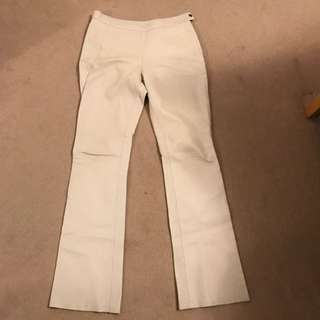 White Leather Pants Anne Hung Lined Flare