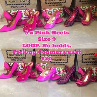 5x Pink Size 9 Heels $20 For Lot