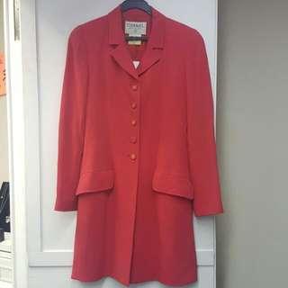 100%real Chanel 桃紅色修身長外套