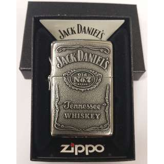 Authentic Jack Daniel's Zippo Lighter High Polish Chrome Full Face Emblem