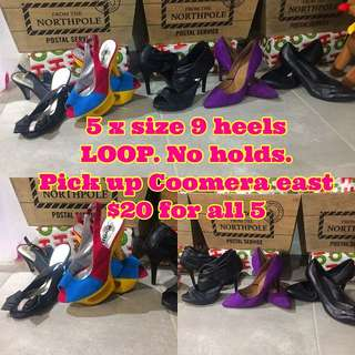 5 X Size 9 Ladies Heels $20 For All