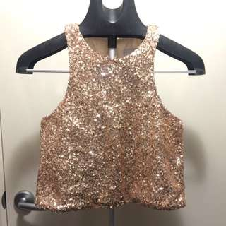 Shareen gold crop top Size 6