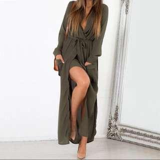 Long maxi chiffon dress