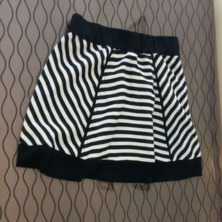 Black And White Striped Lady's Dress