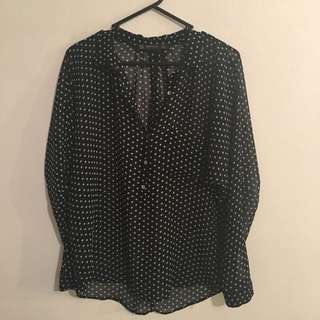 Zara Sheer Polkadot Top