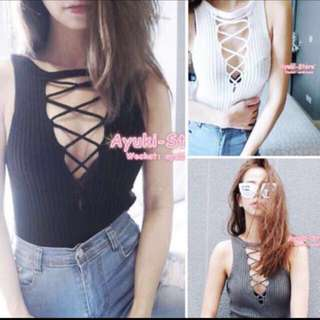 INSTOCK BNIP white Shoelace Knit Top