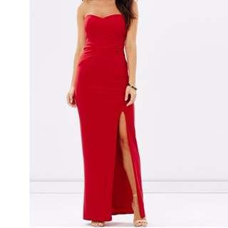 Skiva Red strapless formal dress size 6