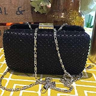 Black Glitter Party Bag