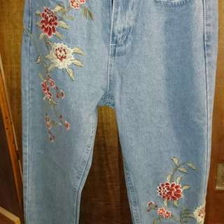 Embroidered Jeans - High Waisted