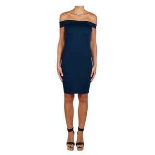 Kookai Yvette Off Shoulder Navy Dress