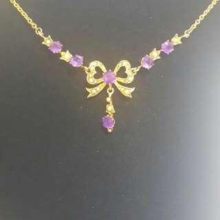 Antique維多利亞紫水晶蝴蝶結項鏈