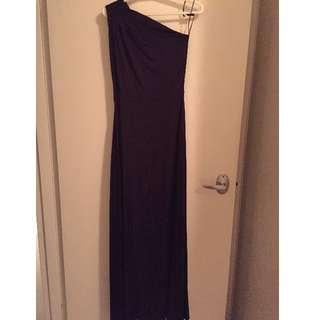 One shoulder, Long Formal/Bridesmaid Dress, Purple Silk, Size 6 & Size 14