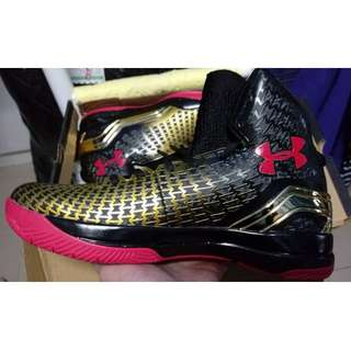 Under Armour Curry 2 Clutchfit Drive 1 UA basketball shoes Gaotong black and red gold