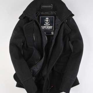 極度乾燥 Superdry Classic Pea Coat jacket 排扣 外套 羊毛 軍裝 立領 女 黑S