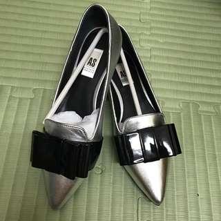 全新AS 銀色平底鞋