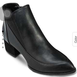 something borrowed black contrast paneled ankle boots