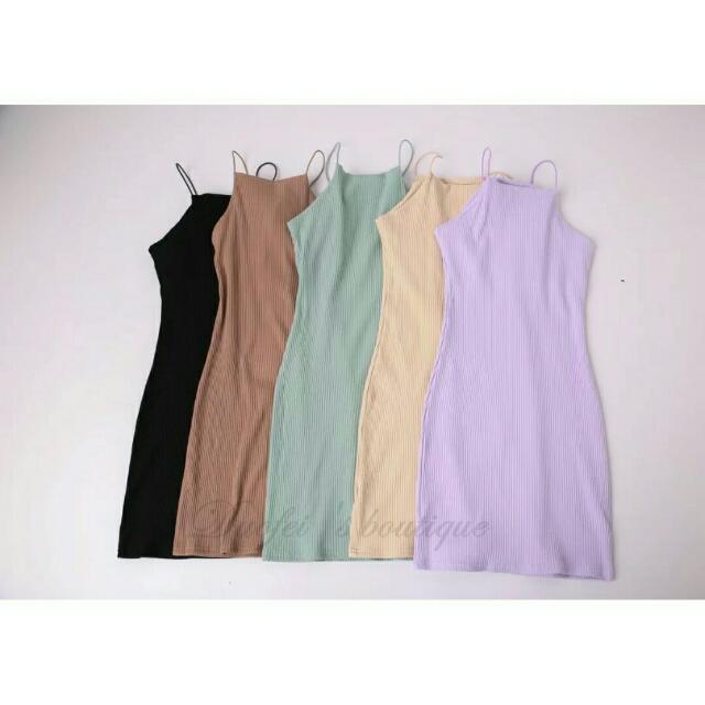 紫色馬卡龍色針織螺紋緊身合身連身背心洋裝
