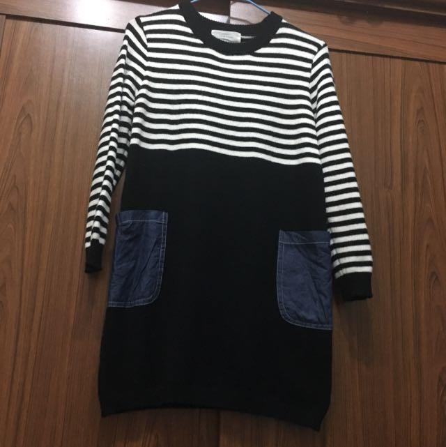 正韓黑白條紋口袋毛衣洋裝