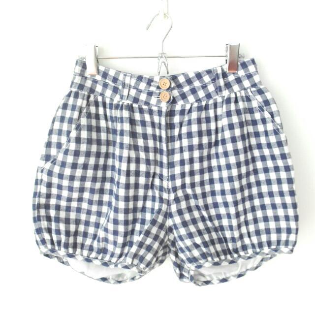 清新日系格紋南瓜褲