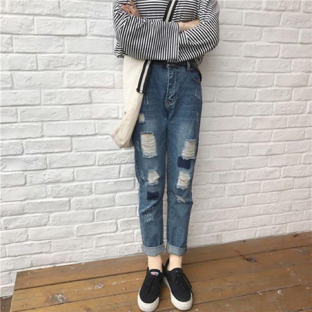 ✨全新✨韓版牛仔褲 破褲