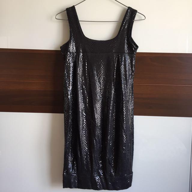 美國購買 亮面蛇皮紋連身洋裝裙