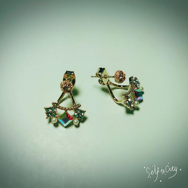 方塊 鑲鑽 寶石 耳環 (四件組)