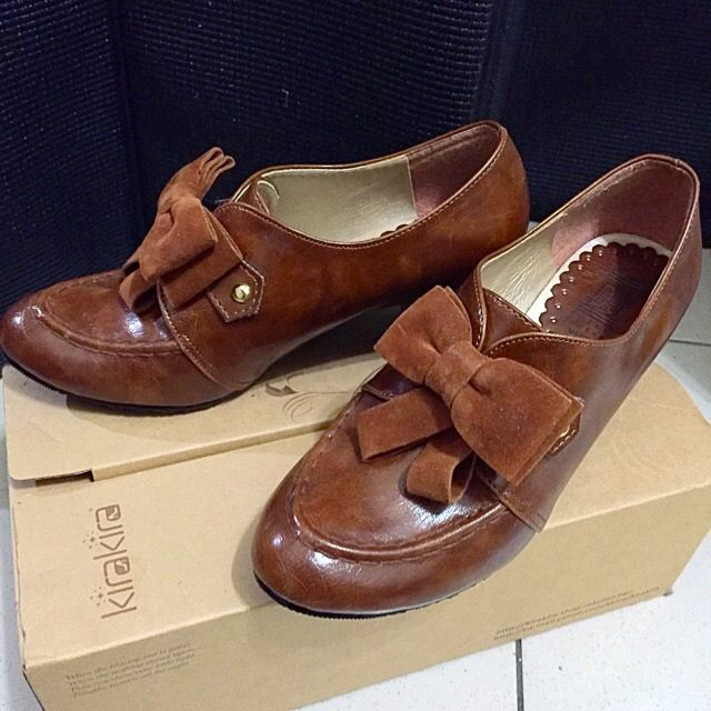 秋冬 牛津 蝴蝶結 跟鞋 包鞋 踝靴 亮皮 棕色 甜心 35 22.5