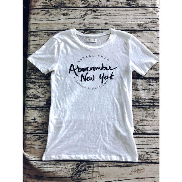 A&F正版Abercrombie&Fitch白色Logo上衣🇺🇸