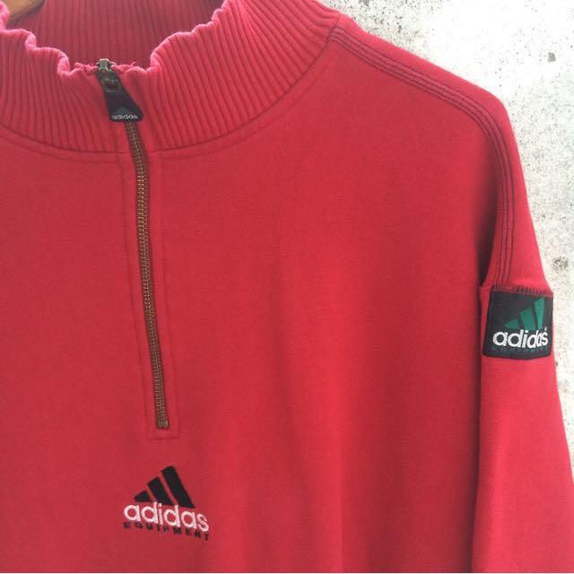 Adidas 80's 拉鏈領 大學tee 長袖