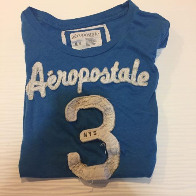 aéropostale blue '3' shirt