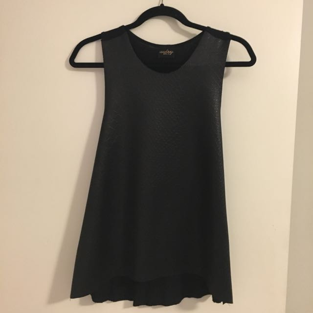 Audrey Black Leather Snake Tank - Size M