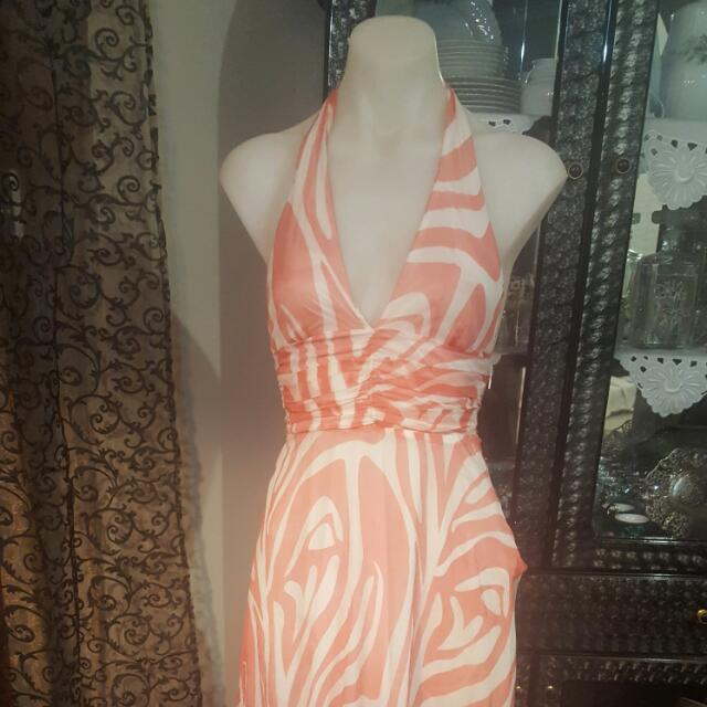 Bardot Dress Halter Neck Orange Zebra Pattern